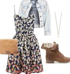 Gorgeous summer dress with denim jacket and some brown pixie boots #dressforteenscasual