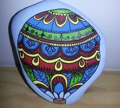 Hand painted stone Hot air Balloon design