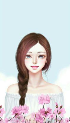 Enakei Korean Illustration, Illustration Girl, Lovely Girl Image, Girls Image, Cute Girl Wallpaper, Cartoon Wallpaper, Cute Cartoon Girl, Tumblr Art, Girl Sketch
