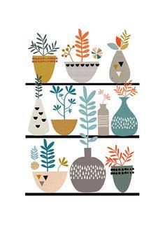 """(affiche """"Flora and Succulents Print"""" de Papermoon sur Etsy) style scandinave, couleurs"""