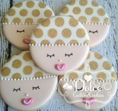 Baby Face Baby Shower Gold Dot Sparkle Cookies - 1 Dozen (12 Pcs) by Dolce Custom Cookies on Gourmly