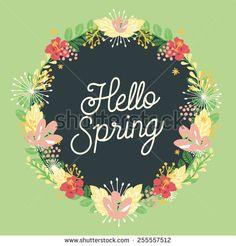 hello spring flower wreath. vector and illustration design.