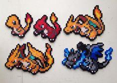 Charmander | Charmeleon | Charizard | Mega Charizard X and Y | Pokemon | Perler Bead | 8bit | Nintendo | Sprite |
