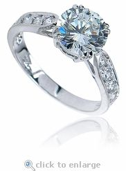 Winston carat round cubic zirconia pave cathedral solitaire engagement ring in white gold by Ziamond. Cubic Zirconia Engagement Rings, Round Solitaire Engagement Ring, Cubic Zirconia Rings, Engagement Ring Settings, Diamond Simulant, Lab Created Diamonds, Opal, Cathedral, White Gold