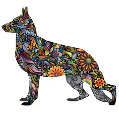 Handsome hound! This gorgeous German Shepherd Dog decal displays a rainbow of colors with its eye catching floral design! Available in multiple sizes, this playful dog-themed room decor will add flair to your home, business or workplace. This colorful German Shepherd wall sticker also makes a great gift for dog lovers of all ages! Available in these 4 sizes (in inches): Small 14w x 12h Medium 17.2w x 14.9h Large 39.9w x 34.4h (realistic dog size, 24 inches at withers) X-Large 45.8w x 39.5h…