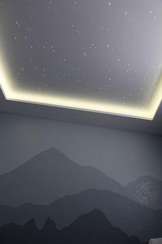 Nursery Star Ceiling and Interior Soffit Project : DIY - Ceiling Design Living Room, Bedroom Ceiling, False Ceiling Design, Bedroom Lighting, Star Lights On Ceiling, Sky Ceiling, Starlight Ceiling, Starry Ceiling, Home Cinema Room