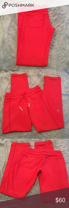 "Lululemon Pants Lululemon Red Straight Pants. No label for sizing so no guarantee of size. Measured against a size 6 and it's the same width. Great condition. Feels like Fleece. Cord drawstring at waist. One zippered pocket on back. Inseam 32"". Inside seams were sewn with white thread, just want you aware. ❌No Trades❌Proceeds go towards feeding the homeless❌ lululemon athletica Pants Straight Leg"