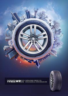 Nokian WR by Dmitry lebedev, via Behance Creative Poster Design, Ads Creative, Creative Posters, Creative Advertising, Print Advertising, Print Ads, Graphic Design Inspiration, Graphic Design Trends, Poster Ads