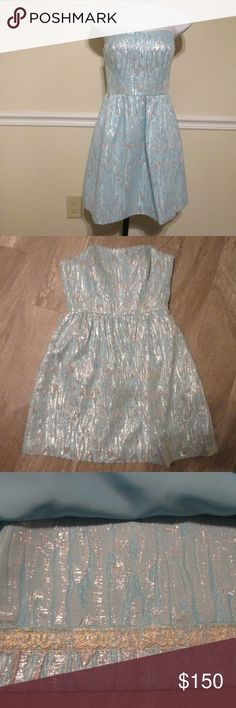 Payton Sweetheart Dress SIZE 2 THIS HAS BEEN WORN BUT NO VISUAL SHOW OF WEAR.  PICTURES DO THIS DRESS NO JUSTICE  Strapless Sweetheart Dress With A Full Skirt.  Metallic Dripping Sands Jacquard (24% Polyester, 38% Rayon, 28% Nylon, 10% Metallic). Hand Wash Cold. Lilly Pulitzer Dresses Mini