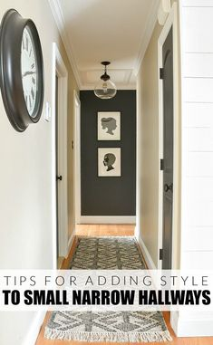 How to add style to a small hallway. A small narrow hallway gets a sleek modern makeover with lots of contrast and texture. How to add style to a small hallway. A narrow hallway gets a sleek modern makeover with lots of contrast and texture. Hallway Paint Colors, Home, Foyer Decorating, House Styles, House Design, Little House, Hallway Paint, Hallway Wall Decor, Small Hallways