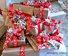 Brown Paper wrapping with chocolate Santas and pretty ribbon ! LOVE IT