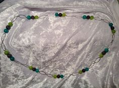 Lime Green Teal Dark Grey and Silver Chain Long by RandomJewelry, $35.00