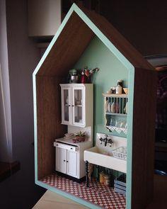 """#Dollhouse #HandMade #Miniature #MiniatureKitchen #1930sKitchen…"