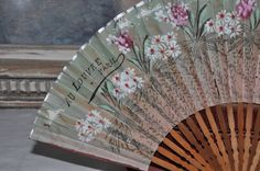 Antique French Hand Fan Golden Edwardian by FrenchArtAntiques