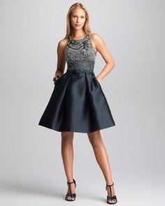 Cocktail Combo Dress by Theia at Neiman Marcus.