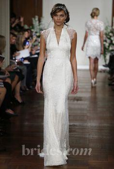 """Brides: Jenny Packham - 2013. """"Amaryllis"""" beaded sheath wedding dress with v-neck and illusion flutter sleeves, Jenny Packham"""