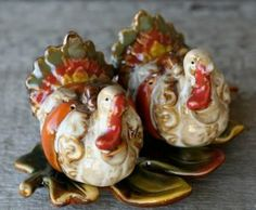 "Thanksgiving Turkeys on Leaf Tray Salt & Pepper Shakers S/P by Great Finds. $12.88. Hand painted ceramic. Tray measures approx 6.5"" x 4.5"". Turkeys measure approx 3"" x 3"" x 2.25"". Thanksgiving Turkeys on Leaf Tray Salt & Pepper Shakers S/P"