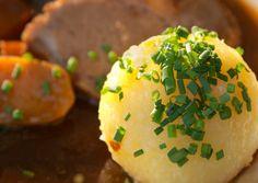 Franconian potato dumplings with Sauerbraten--Kloß mit Soß!