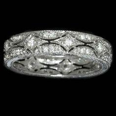 Vintage squareDiamond Rings ith filigree band | ... Bands : DIAMOND VINTAGE RING FILIGREE ANTIQUE DECO WEDDING BAND