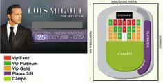 Luis Miguel - 24 y 25 de Octubre 2014 GEBA Bs As -  * Pack con Vip Gold $ 2250.- * Pack con Platea Nunerada $ 1750.- * Pack con Campo $ 1350 .-