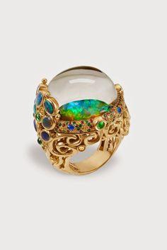 Temple St Clair....Medusa Moon Jellyfish ring in 18k gold with Australian Andamooka opal, Lightening Ridge black opal, sapphire, tsavorite, hauyn & rock crystal.