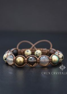 Brown Sugar Macrame Bracelet Women's Shamballa by CruxCrystals