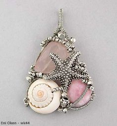 pink opal, shell, and rose quartz pendant