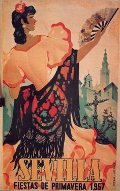 Wikiferia, tu blog sobre la feria de abril de Sevilla, su historia, portadas, carteles de las fiestas de la Primavera, curiosidades y sevillanas. Vintage Travel Posters, Vintage Postcards, Poster S, Breakfast For Kids, California Travel, Vintage Art, Retro, Drawings, Illustration