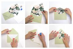 Dark White Blush Floral Flower Leaves Envelope by GreyberryDesign