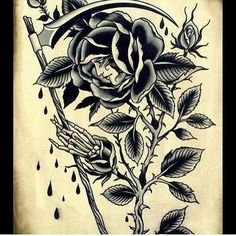 #tattoo, #traditional #blackrose #girl #franc.parra folow on instagram