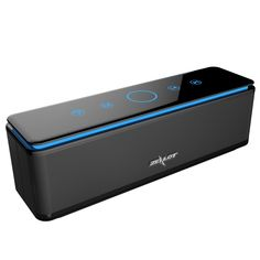 ZEALOT S7 Touch Control Bluetooth Wireless Speakers 4 Drivers Power Bank with Built-in 10000mAh Battery,LED Bar,Aux Audio/TF Card Supported - Jet Black