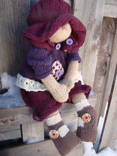 Pattern for  Raggedy Baby Buttons Raggedy Lottie ragdoll doll knitted doll via Etsy