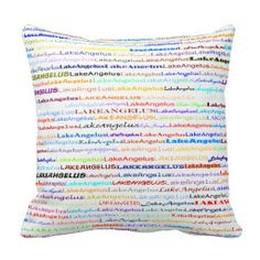 Lake Angelus Text Design II Throw Pillow