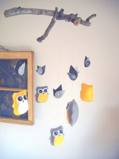 Owl Mobile... yellow & gray is so much better than pink and purple ick!