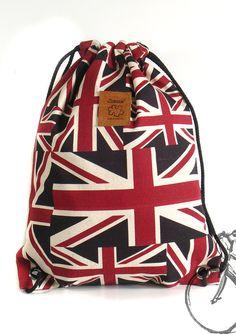 20% off [orig. 14.99] Union Jack drawstring bag Canvas Cotton Backpack Laptop bag Hip bag Handmade bag