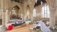 """Churches Conservation Trust, a London-based charity, allows people to """"camp"""" inside at-risk parish churches for a fee. For the upcoming """"champing"""" season it will open 10 churches, including All Saints in West Stourmouth."""