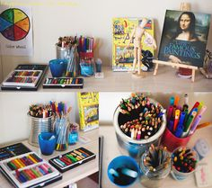 Starting from the top left we have lots of materials for drawing: oil pastels, chalk pastels, charcoal, pencils, watercolour pencils, markers, crayons, eraser, and sharpener. In the blue cup with the charcoal is also some broken candle pieces, they sometimes use them to draw on white paper and then paint over with watercolours to reveal the picture. We also have two art books displayed 'Usbourne Lift-the-flap Art', and 'Famous Paintings'. And our little 'Mannekin' there who looks like he's…