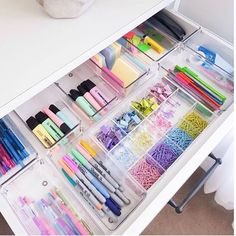 """Chaos Cleared on Instagram: """"This drawer has me drooling 🤤🤤color coded bliss . #goals . . . . 📸: @fromgreatbeginnings #stationary #stationaryaddict #organizeddrawers…"""""""