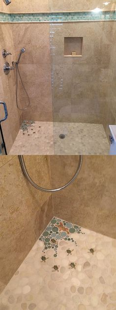 Wet Dog Tile created the puddle in the far left corner of the shower, made with glass rounds and various ceramic turtle pieces. These pieces are flat and are completely safe to walk on, and of course, are waterproof. This look is paired with 12x12 noce travertine and chrome fixtures. #wetdogtile