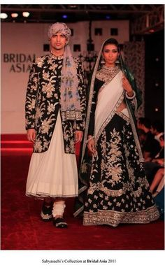 Sabyasachi Bridal Asia 2011. For a change the men's sherwani is as heavy as the lehenga. So beautiful.