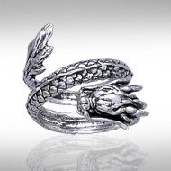 Peter Stone Coiled Eastern Dragon Silver Ring TR1445  This Asian inspired dragon is wrapped in a graceful circle, waiting to inspire you with its ancient power of protection.