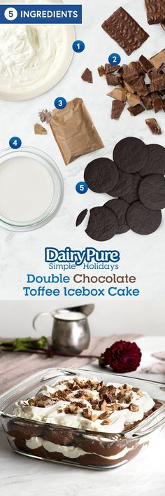 DairyPure® Double Chocolate Toffee Icebox Cake -- Skip the oven - the simple, secret weapon for this dessert is the refrigerator! With only 5 ingredients and an overnight chill, this recipe will impress everyone.