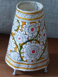 Andhra Leather Craft - Painted Standing Lamp, Small - The India Craft House Madhubani Art, Madhubani Painting, India Crafts, Home Crafts, Kalamkari Painting, Painting Lamp Shades, Lampshade Designs, Diwali Diy, Ethnic Decor