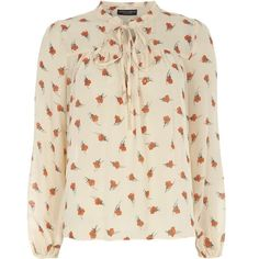 Dorothy Perkins Poppy Print Boho Blouse (£20) ❤ liked on Polyvore featuring tops, blouses, orange, boho blouse, pink top, pink blouse, bohemian blouses and orange blouse