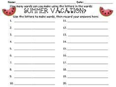 Making Words--Summer Vacation - First Grade is Fantabulous! - TeachersPayTeachers.com
