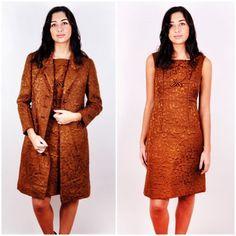 for Kate £125 Vintage-50s-Womens-Simpson-Daks-Silk-Gold-Brocade-Dress-Jacket-Outfit-Suit-Set-S