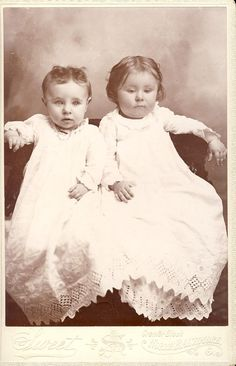 SWEET Little Girls in MATCHING CHRISTENING Gowns Dresses Cabinet Photo North Baltimore Ohio Circa 1890