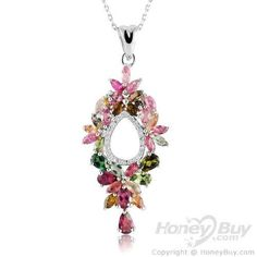 Gorgeous Colorful Tourmaline Sterling Silver Crystal Pendants
