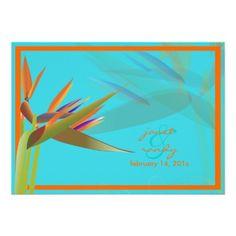 PixDezines Bird of Paradise/DIY background color! Personalized Invite