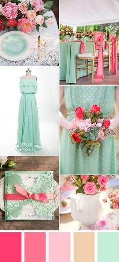 mint and pink spring and summer wedding color ideas